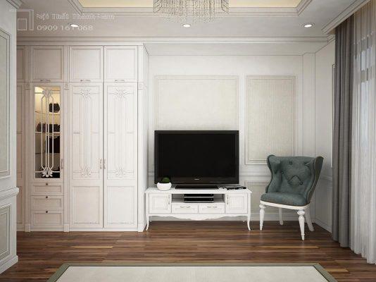 Phòng ngủ bán cổ điển, kết hợp giữa hiện đại nhưng vẫn muốn giữ được sự tinh tế trong đường nét thiết kế của phong cách cổ điển. Được 2 trong 1