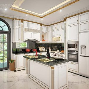 Thiết kế tủ bếp dát vàng